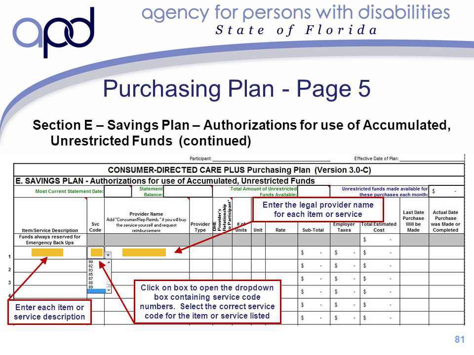 Purchasing Plan - Page 5 Section E – Savings Plan – Authorizations for use of Accumulated, Unrestricted Funds (continued)