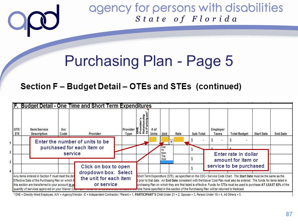 Purchasing Plan - Page 5 Section F – Budget Detail – OTEs and STEs (continued) Enter the number of units to be purchased for each item or service.