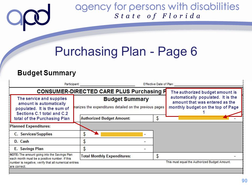 Purchasing Plan - Page 6 Budget Summary 90