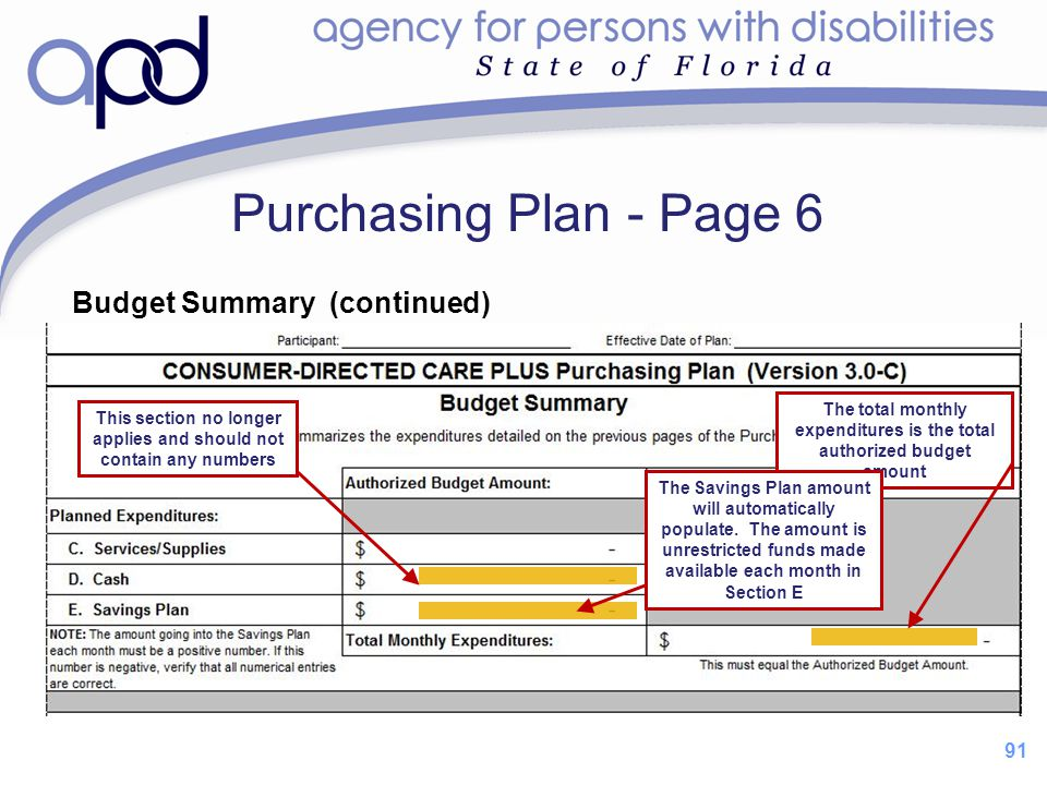 Purchasing Plan - Page 6 Budget Summary (continued) 91