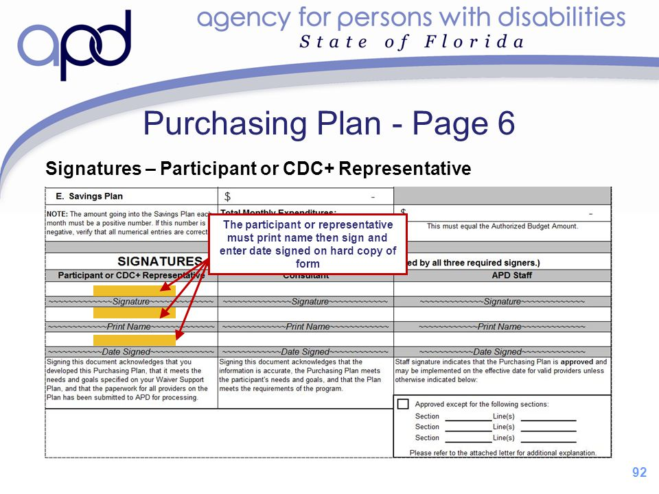 Purchasing Plan - Page 6 Signatures – Participant or CDC+ Representative.