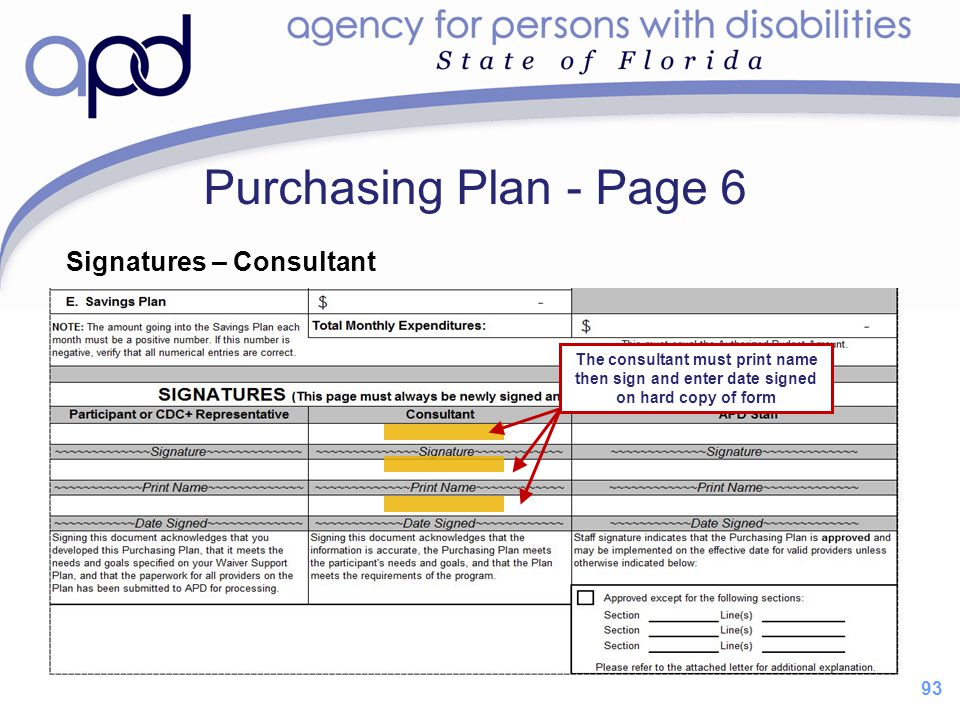 Purchasing Plan - Page 6 Signatures – Consultant 93
