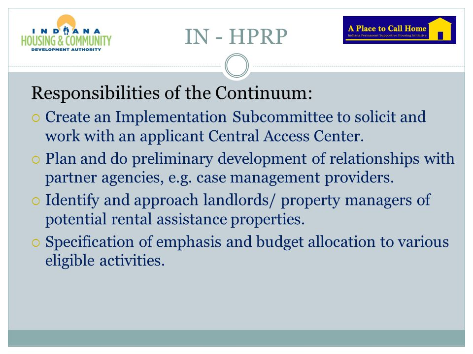 IN - HPRP Responsibilities of the Continuum: