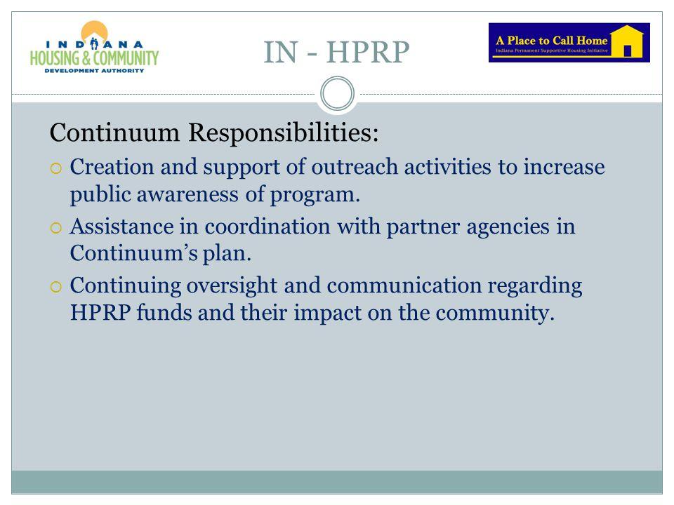 IN - HPRP Continuum Responsibilities:
