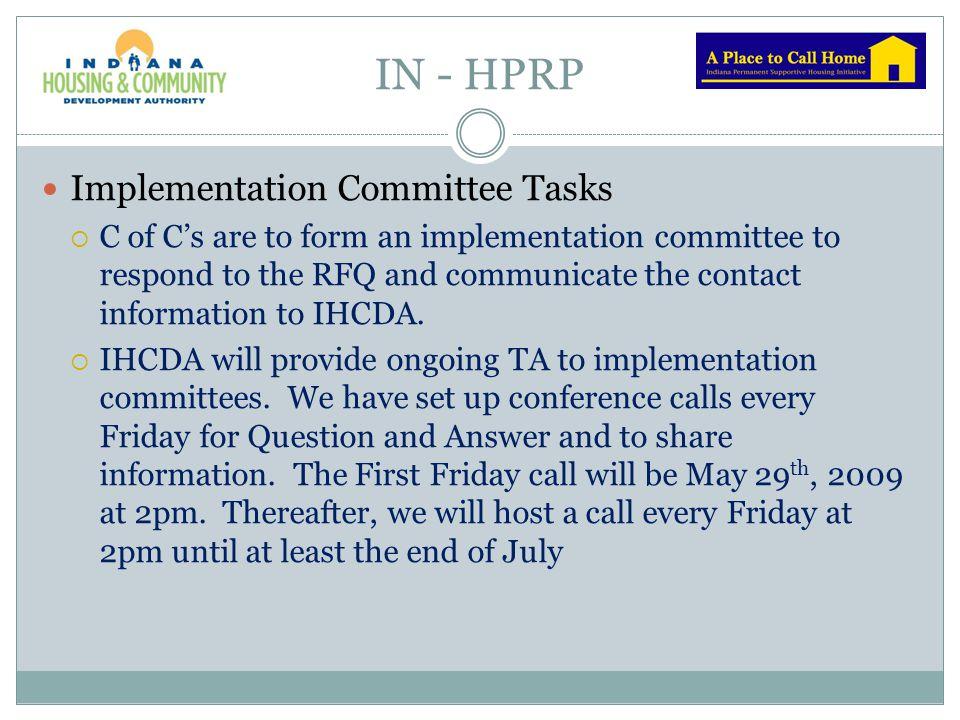 IN - HPRP Implementation Committee Tasks