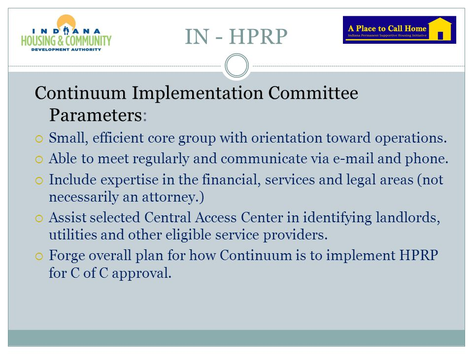 IN - HPRP Continuum Implementation Committee Parameters: