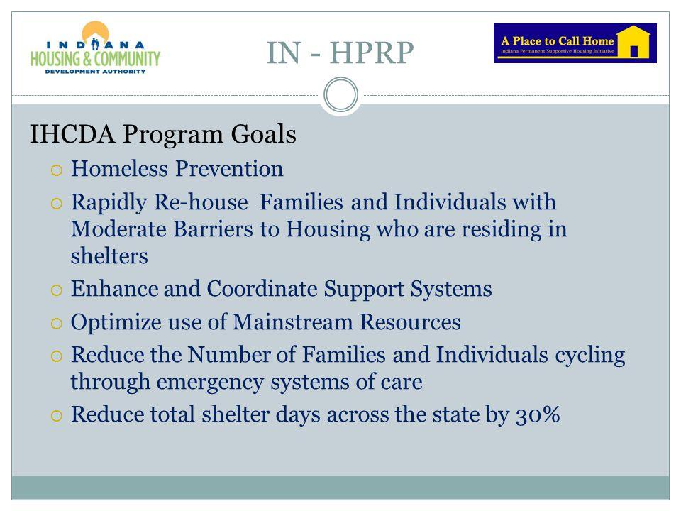 IN - HPRP IHCDA Program Goals Homeless Prevention