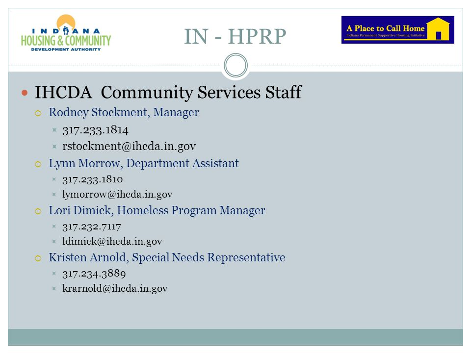 IN - HPRP IHCDA Community Services Staff Rodney Stockment, Manager