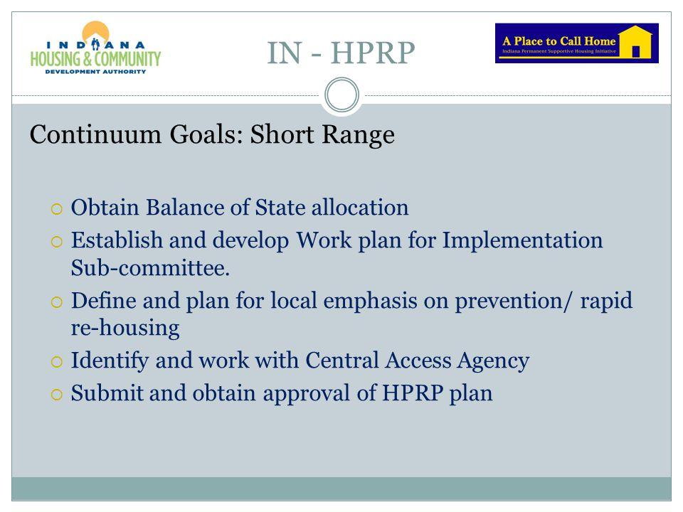 IN - HPRP Continuum Goals: Short Range
