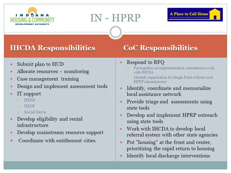 IN - HPRP IHCDA Responsibilities CoC Responsibilities