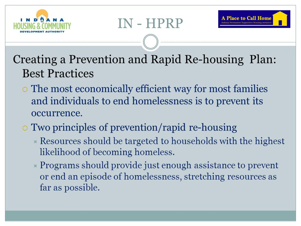 IN - HPRP Creating a Prevention and Rapid Re-housing Plan: Best Practices.
