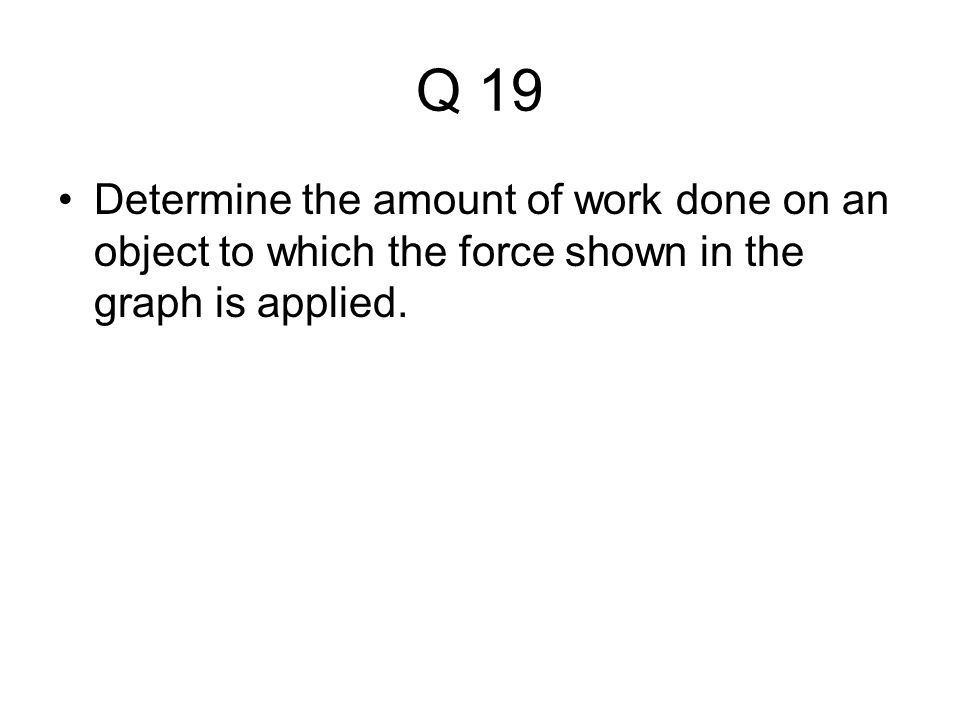 Q 19 Determine the amount of work done on an object to which the force shown in the graph is applied.