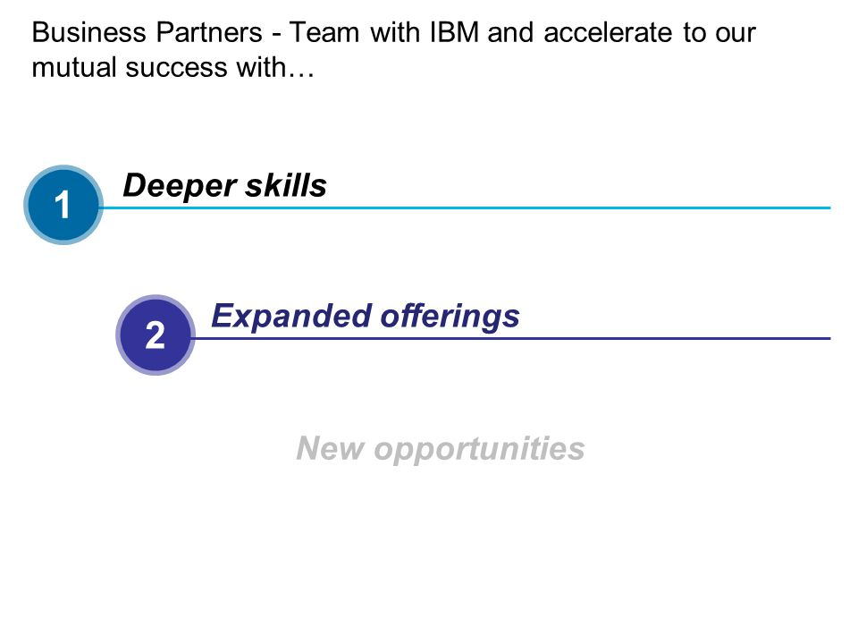 1 2 3 Deeper skills Expanded offerings New opportunities