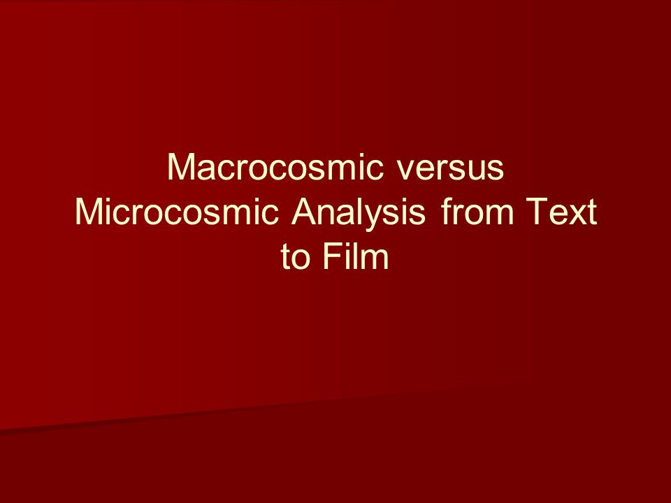 Macrocosmic versus Microcosmic Analysis from Text to Film