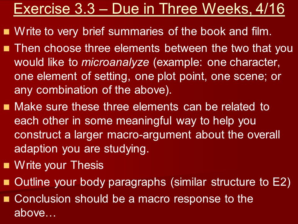 Exercise 3.3 – Due in Three Weeks, 4/16