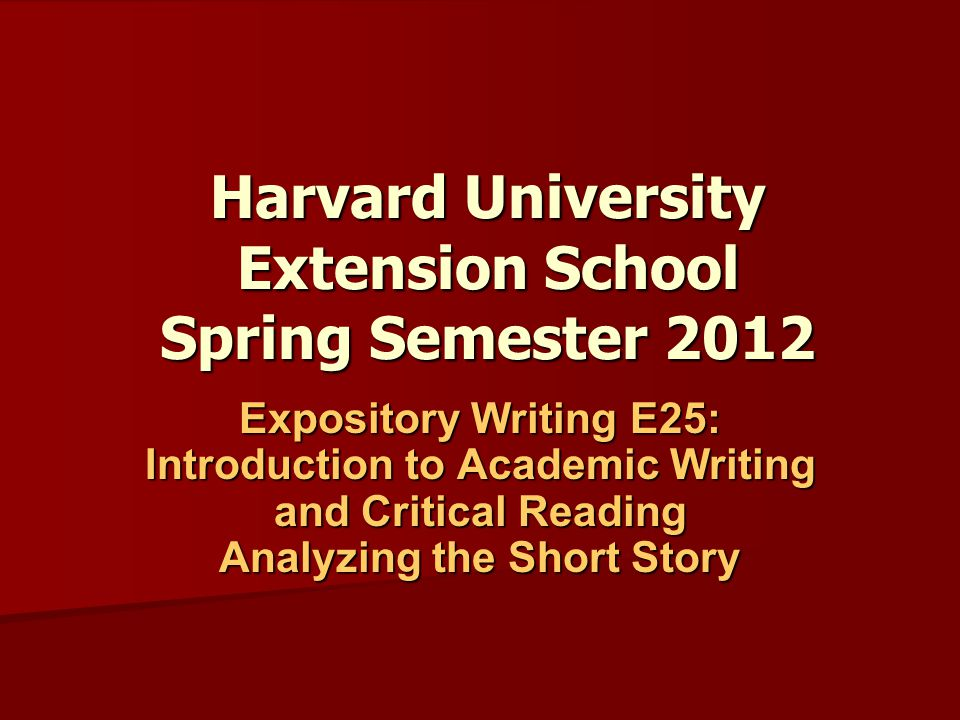 Harvard University Extension School Spring Semester 2012