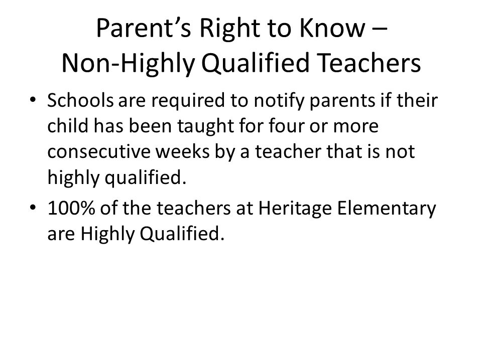 Parent's Right to Know – Non-Highly Qualified Teachers