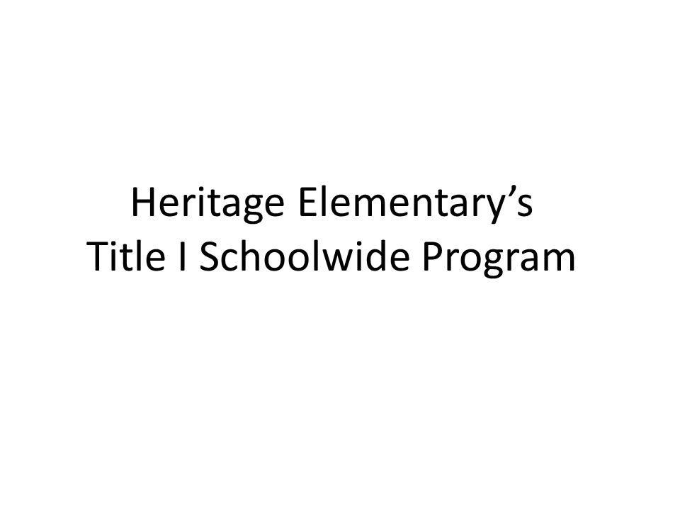 Heritage Elementary's Title I Schoolwide Program