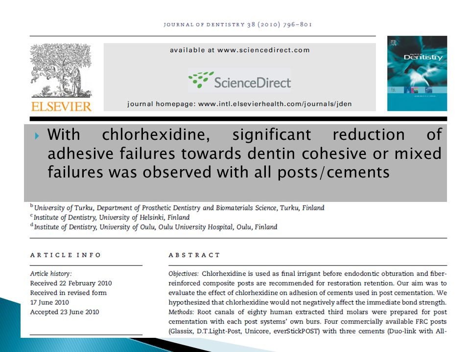 With chlorhexidine, significant reduction of adhesive failures towards dentin cohesive or mixed failures was observed with all posts/cements
