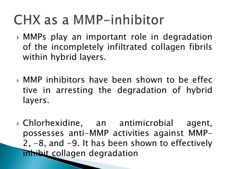 CHX as a MMP-inhibitor MMPs play an important role in degradation of the incompletely infiltrated collagen fibrils within hybrid layers.