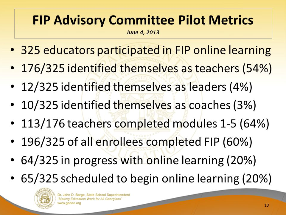 FIP Advisory Committee Pilot Metrics June 4, 2013