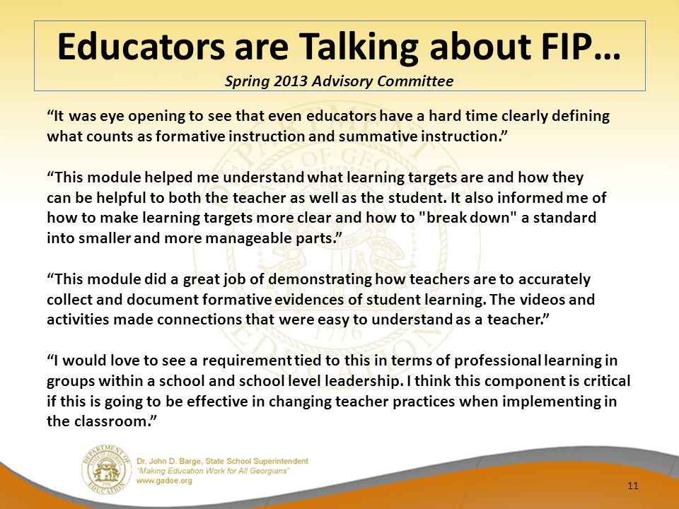 Educators are Talking about FIP… Spring 2013 Advisory Committee