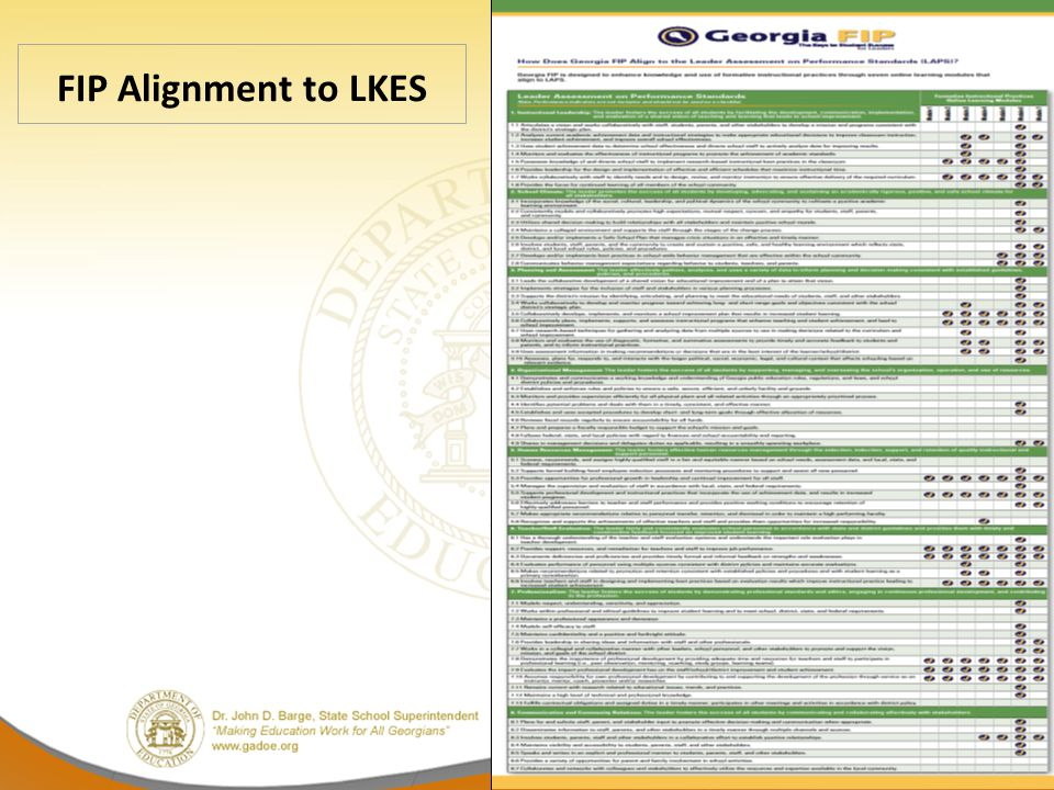 FIP Alignment to LKES