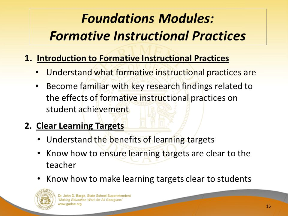 Foundations Modules: Formative Instructional Practices