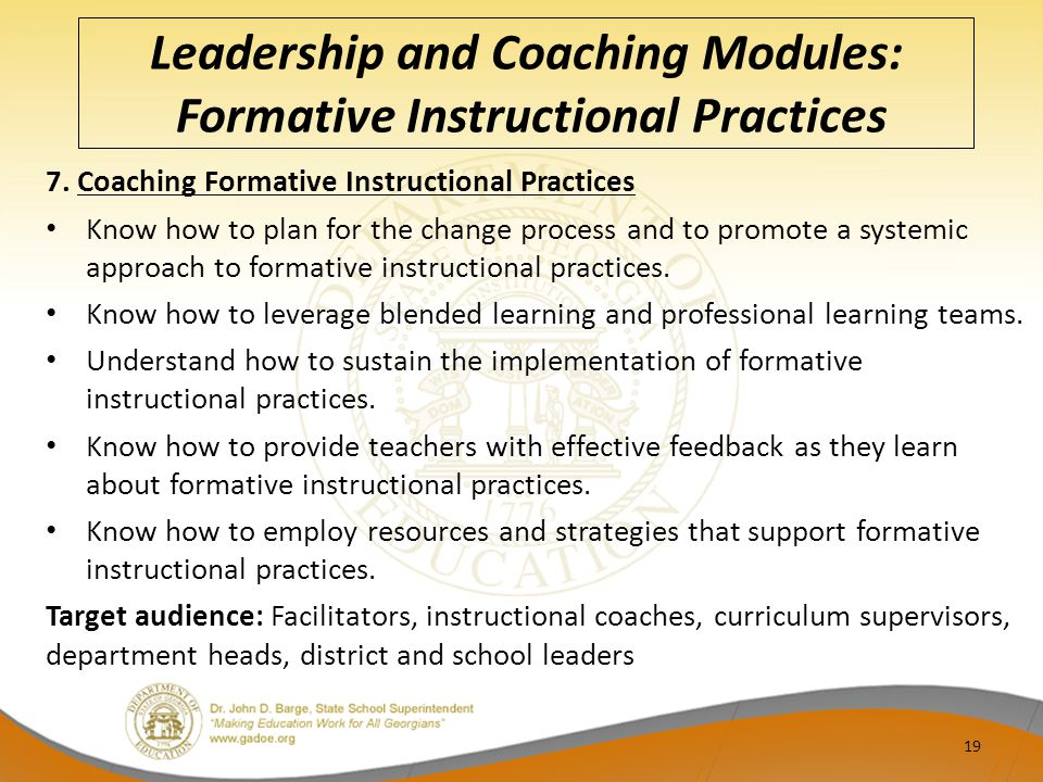 Leadership and Coaching Modules: Formative Instructional Practices