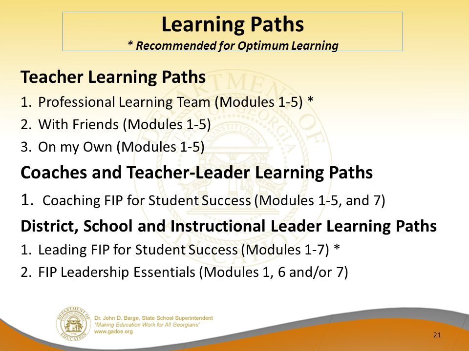 Learning Paths * Recommended for Optimum Learning
