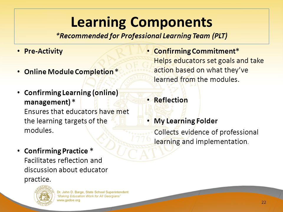 Learning Components *Recommended for Professional Learning Team (PLT)
