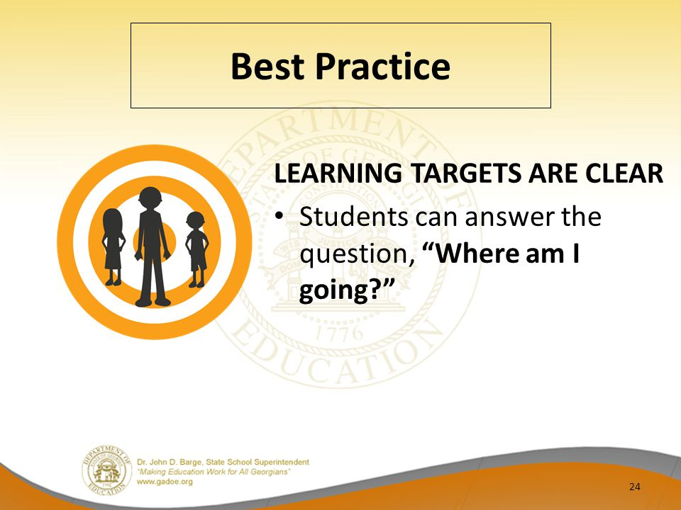 Best Practice LEARNING TARGETS ARE CLEAR