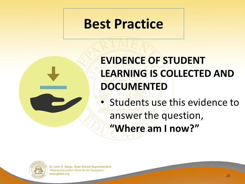 Best Practice EVIDENCE OF STUDENT LEARNING IS COLLECTED AND DOCUMENTED