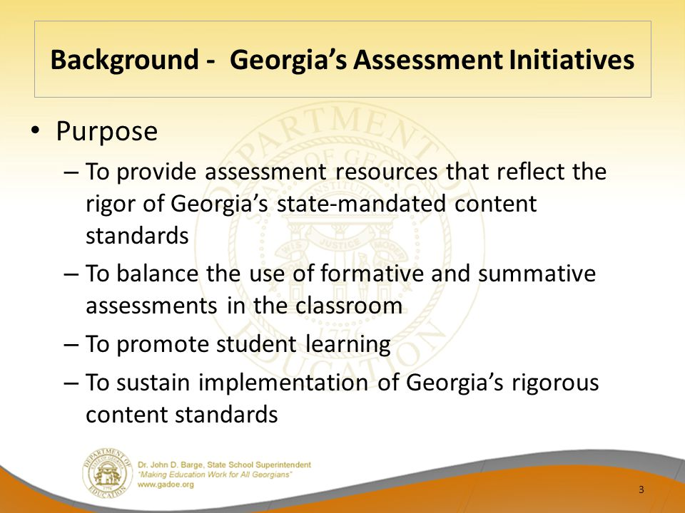 Background - Georgia's Assessment Initiatives