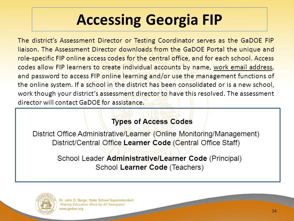 Accessing Georgia FIP