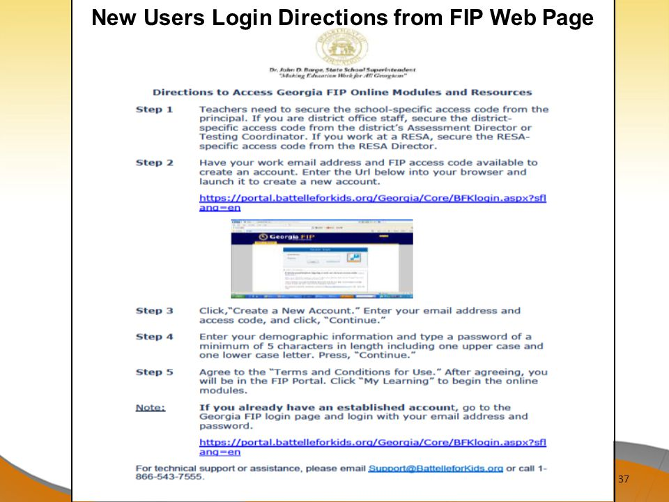 New Users Login Directions from FIP Web Page