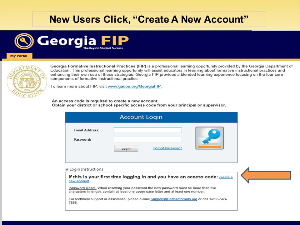 New Users Click, Create A New Account