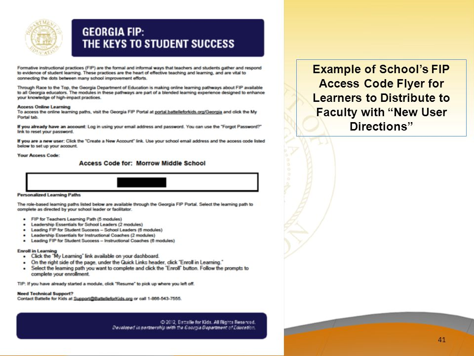 Example of School's FIP Access Code Flyer for Learners to Distribute to Faculty with New User Directions