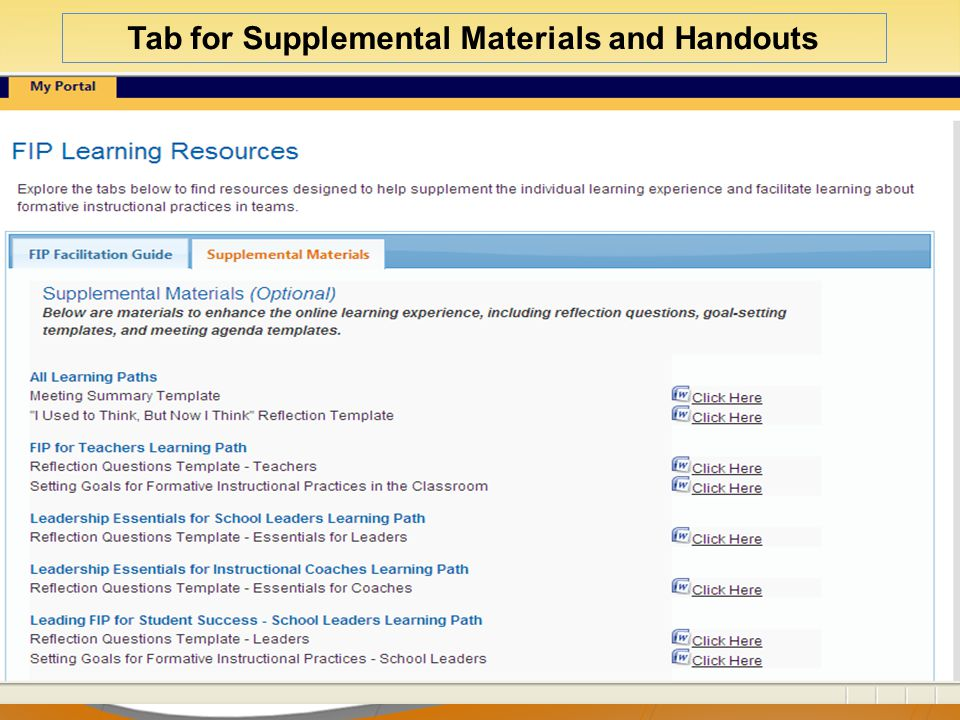 Tab for Supplemental Materials and Handouts