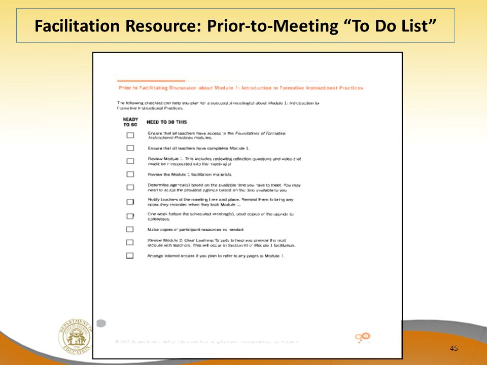 Facilitation Resource: Prior-to-Meeting To Do List