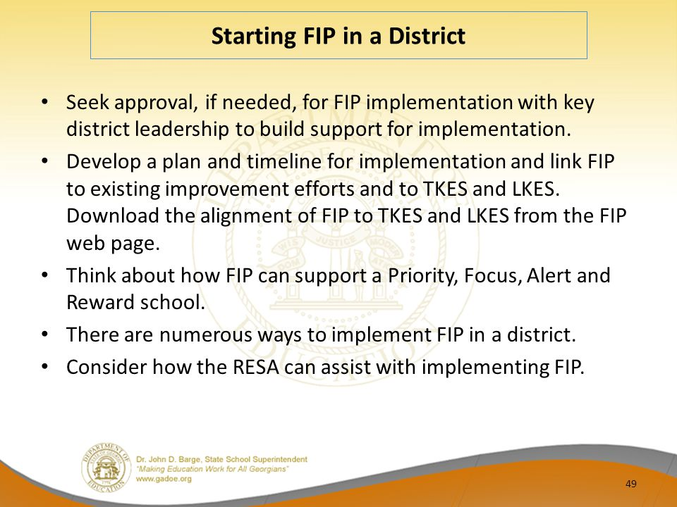 Starting FIP in a District