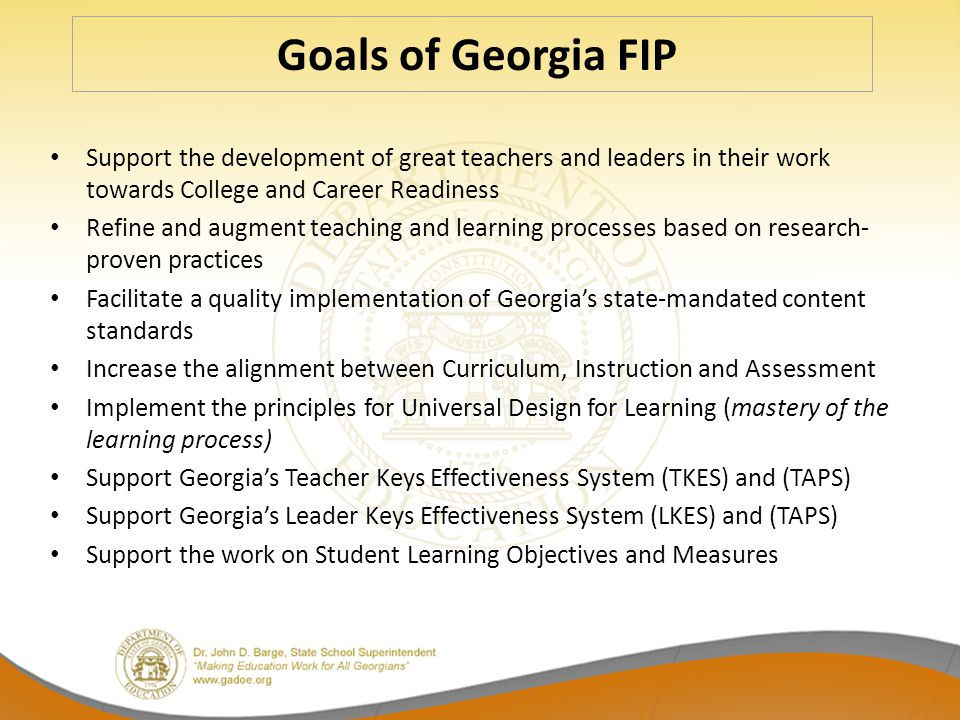 Goals of Georgia FIP Support the development of great teachers and leaders in their work towards College and Career Readiness.