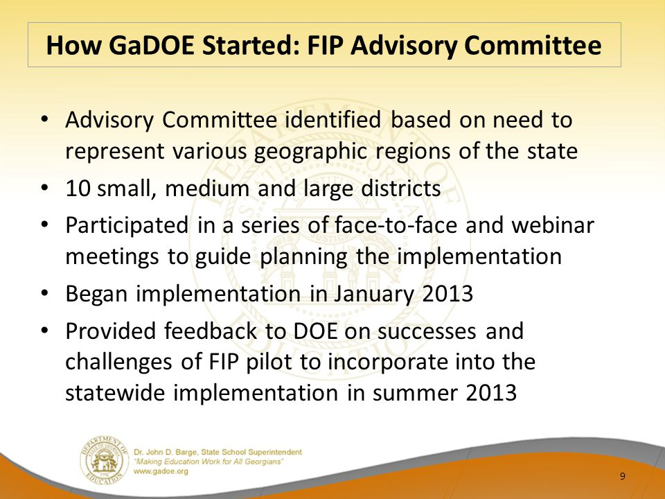 How GaDOE Started: FIP Advisory Committee