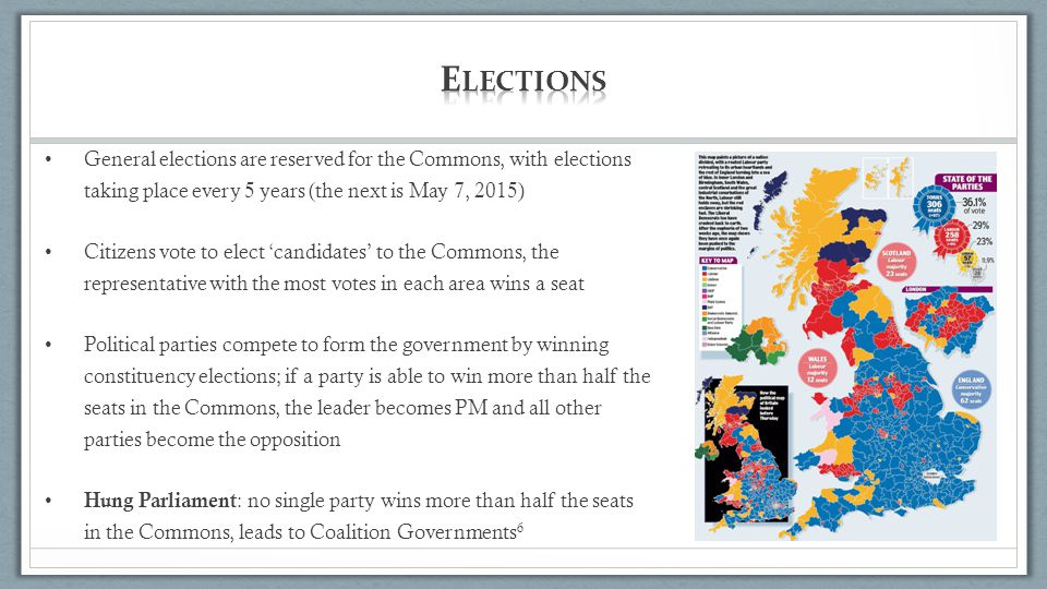 Elections General elections are reserved for the Commons, with elections taking place every 5 years (the next is May 7, 2015)