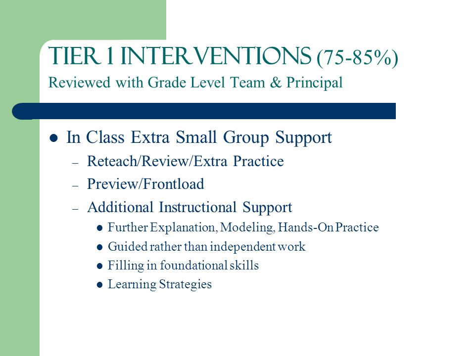 Tier 1 Interventions (75-85%) Reviewed with Grade Level Team & Principal