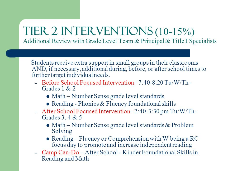 Tier 2 Interventions (10-15%) Additional Review with Grade Level Team & Principal & Title I Specialists