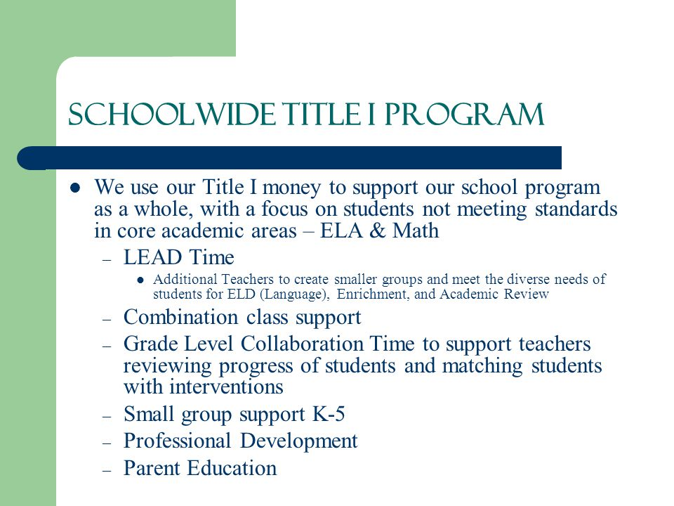 Schoolwide Title I Program