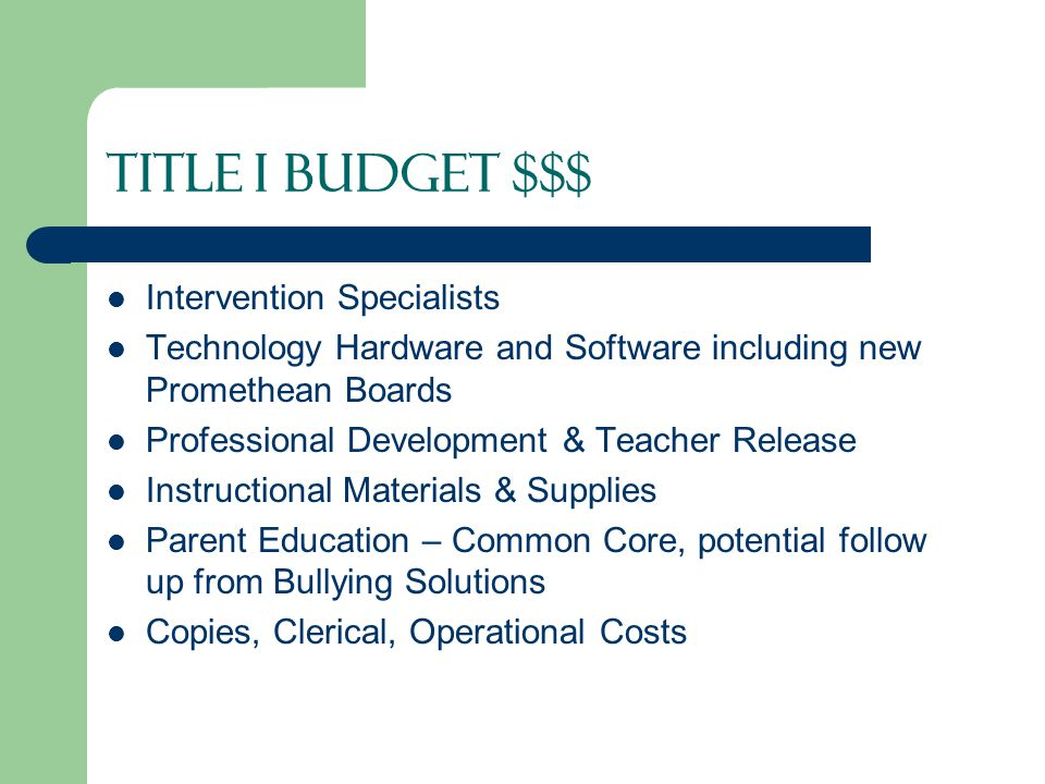 Title I Budget $$$ Intervention Specialists