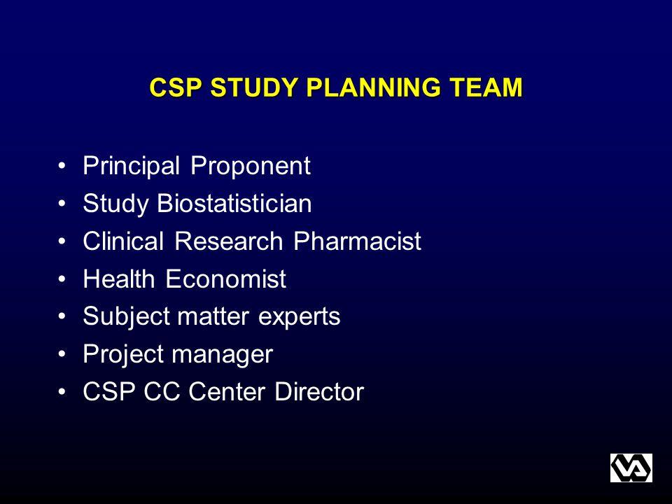 CSP STUDY PLANNING TEAM