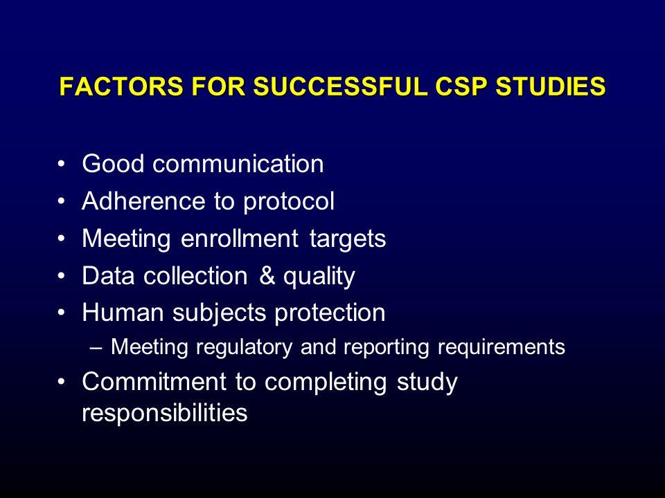 FACTORS FOR SUCCESSFUL CSP STUDIES